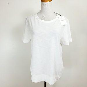 Theory L White Top Tee Womens Tilma Short Sleeve